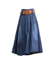 Blue Maxi Full Denim Skirt with Leopard Print Waistband