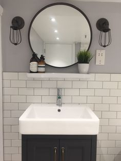 Shame about shaver socket – would usually hide this within the vanity cabinet. Apart from that (grrrrrr!), looks good! Small Downstairs Toilet, Small Toilet Room, Downstairs Cloakroom, Upstairs Bathrooms, Black Bathrooms, Master Bathroom, Grey Grout Bathroom, Bathroom Toilets, Metro Tiles Bathroom
