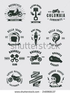 Badges Motorcycle Collections - stock vector