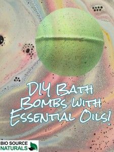 DIY Bath Bombs with Essential Oils using just a few ingredients! Make bath time more fun for your children, or use lavender essential oil to take away your stress. #aromatherapy