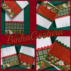 Natal 2016 Dish Towels, Kitchen Towels, Christmas Stockings, Patches, Pasta, Quilts, Holiday Decor, Crochet, Crafts