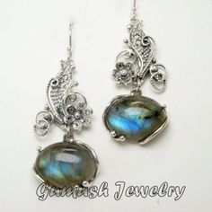 labradorite filigree earrings