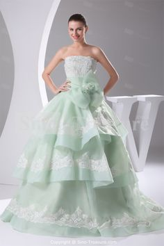 Sage Strapless Brush/ Sweep Train Organza Corset-back Ball Gown Wedding Dress Wholesale Price: US$267.99