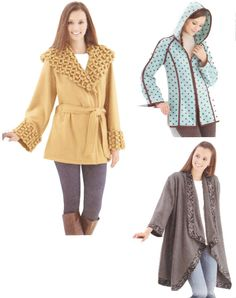 Fleece Jacket in Three Styles, Size 6-8-10-12-14-16-18-20-22-24,  Bust 30-31-32-34-36-38-40-42-44-46, Simplicity Sewing Pattern 2208 by TheGrannySquared on Etsy