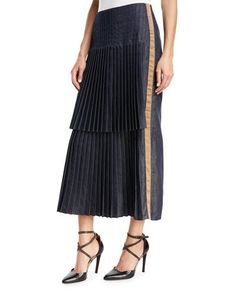 e51cbe0ea0 Brunello Cucinelli Denim Front Pleated Skirt with Contrast Lam& Racing  Stripe Racing Stripes, Pleated