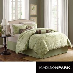 @Overstock - Add a coastal touch to your bedroom with this 7-piece Bermuda comforter set from Madison Park. Featuring a soft green and ivory palm print, this tropical comforter set is finished with coordinating green piping.http://www.overstock.com/Bedding-Bath/Madison-Park-Bermuda-Sage-7-piece-Comforter-Set/6603738/product.html?CID=214117 $89.99