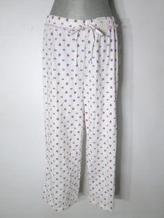 New Womens Charter Club Pajama Pants Floral Cropped Cotton Knit #CharterClub…
