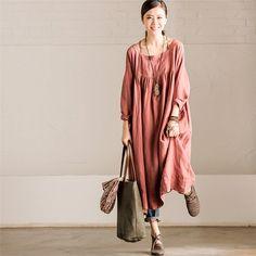 Femmes manches longues en lin de coton lâche robe col carré