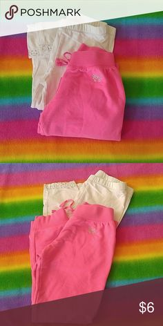 Girls pants Hot Pink with rhinestone bow detail sweatpants size 8 and size 8 white legging with silver lace detail. Both in gently used condition. Green Soda Bottoms Leggings