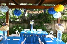Fly Boy Baby Shower - Tissue Pom Poms, Pennant, Custom Floral Picks and Accents