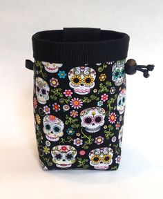 day of the dead skulls chalk bag, rock climbing