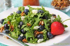 Arugula & Blueberry Salad w/ Goat Cheese, Honeyed Sunflower Seeds & Strawberry Vinaigrette