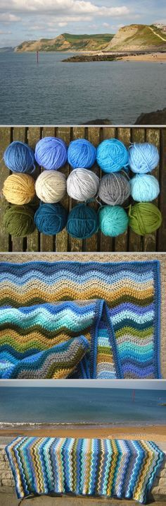 Coast Ripple, from inspiration to beautiful completion, by Lucy of Attic 24 ~ Free pattern & excellent, detailed tutorial with plenty of step-by-step photos. Worked in Stylecraft DK with 'G' hook. . . . . ღTrish W ~ http://www.pinterest.com/trishw/.