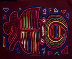 Kuna Indian Hand Stitch Jaws of Death Mola-Panama 16081004M
