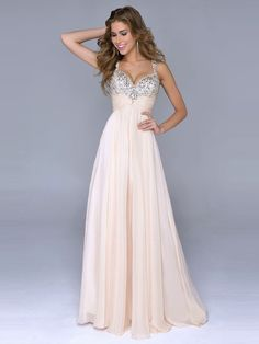 A-Line/Princess Spaghetti Strap Beading Zipper Back Floor-Length Prom Dresses