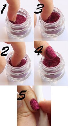 You apply a clear coat of polish to the nails, dip the nail into the glitter pot, make sure the glitter covers the whole nail, carefully rem...