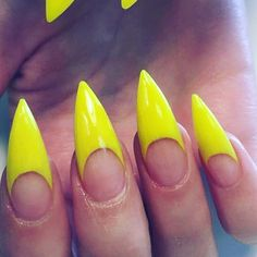 Neon yellow stiletto french tips.  by thenailbarsydney http://ift.tt/1NRMbNv