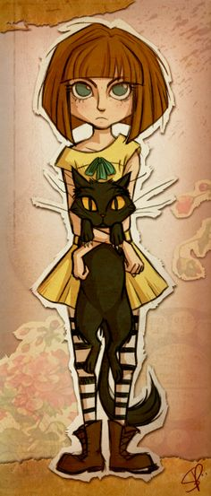 Fran Bow is an awesome indie horror game with a point-and-click playstyle. This art shows Fran with her pet cat and guardian, Mr. Mr Midnight, Bow Games, Bow Art, Little Misfortune, Mad Father, Chibi, Rpg Horror Games, Fanart, Indie Games