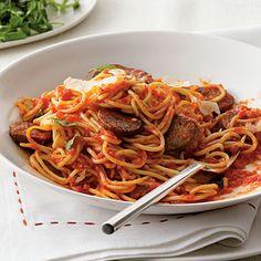 Spaghetti with Sausage and Simple Tomato Sauce | CookingLight.com