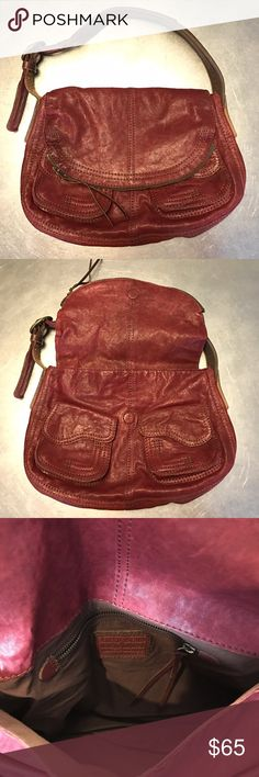 """Lucky Brand """"Stash""""handbag Shoulder bag with fold over closure pocket. Double pockets in front with magnetic closure. Whisky brown-red color.  Clean, never used. 14""""w. 10"""" drop. Lucky Brand Bags Shoulder Bags"""