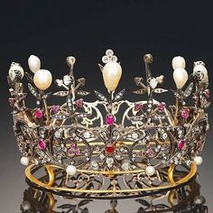 Diamond, Ruby & Pearl Victornian Crown