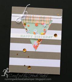 Stampin' Up June 2016 Paper Pumpkin Banner Surprise Triangular Shaker by #RunningwScissorsStamper