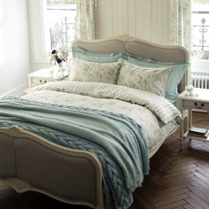 by Laura Ashley Emma Duck Egg Cotton Bedlinen - NEED THAT THROW!!!!!!