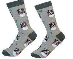 Australian Shepherd Dog Breed Socks Unisex Sock Daddy by E&S Pets Dog Socks, Crew Socks, Body Sock, Australian Shepherd Dogs, Novelty Socks, Dog Breeds, Dog Lovers, Daddy, Unisex