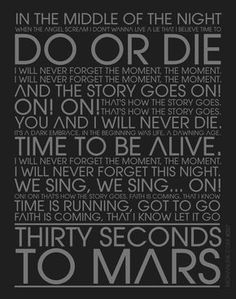 Do or Die Lyrics. My most favorite song of all time.Thirty Seconds To Mars Song Lyric Quotes, Lyric Art, Music Lyrics, Music Quotes, 30 Sec To Mars, Thirty Seconds To Mars, 30 Seconds, Good Charlotte, Asking Alexandria