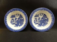"""Woods Ware Blue Willow By Wood & Sons England, Two 5-1/2"""" Sauce/Berry Bowls #WoodsWare"""