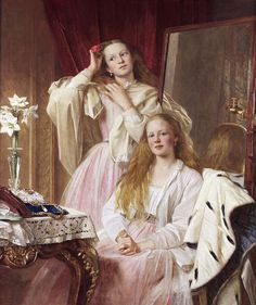 LARGE SIZE PAINTINGS: Henry Tanworth WELLS Emma and Federica Bankes 1869...