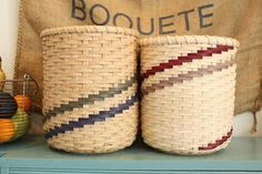 Scrap Basket, via Etsy. Uses short pieces of scrap colored reed. I like the design!