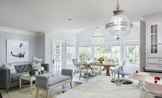 Grey and Blue Family Room with Scroll Bench, Transitional, Living Room, Benjamin Moore Shoreline Blue Living Room Decor, Living Room Furniture Layout, Living Room Paint, Living Room Designs, Blue Family Rooms, Pastel Furniture, Transitional Living Rooms, Furniture Arrangement, Luxury Interior Design