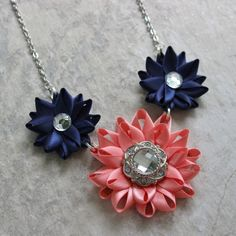 Navy and Coral Necklace Coral and Navy by PetalPerceptions on Etsy, $16.00