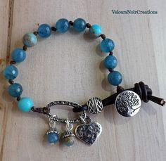 Bracciale bottone albero della vita e pietre dure azzurre, by Velours Noir Crèations, 22,00 € su misshobby.com