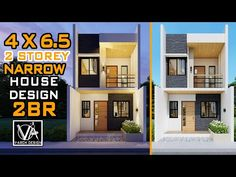 4x6.5 2 Storey Small House Design (30 sqm) - YouTube House Plans 2 Storey, 2 Storey House Design, Two Storey House, Narrow House Designs, Small House Design, Home Design Plans, Home Interior Design, Small Modern House Plans, Storey Homes