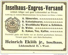 Original-Werbung / Anzeige 1907 - INSELHAUS ENGROS - VERSAND / EKLÖH LÜDENSCHEID - ca. 115  x 90 mm