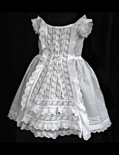 Circa 1850-1880 'broderie anglaise' toddler's dress (often times revamped from a christening robe for baby's 1st birthday).