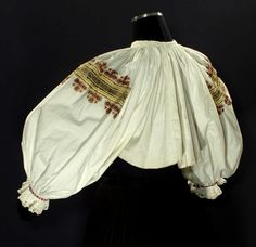 Old Slovak Embroidered Blouse Ethnic Folk Costume Metallic Embroidery Lace Kroj | eBay