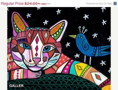 50% Off - Cat Art Folk art Poster Print of Painting by Heather Galler Modern Abstract (HG266)