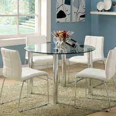54 manhattan round glass table with chairs pinterest round