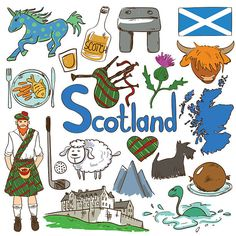 Colorful Travel Concept Of Scotland Symbols. vector art illustration Colorful Travel Concept Of Scotland Symbols. Free Vector Graphics, Vector Art, Scotland Symbols, Geography For Kids, Travel Icon, Thinking Day, World Cultures, Travel Posters, Illustration Art