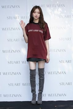 Lee sung-kyung in stuart weitzman thigh boots (i love the shirt tooi kinda like the whole outfit) Kpop Fashion, Asian Fashion, Fashion Outfits, Womens Fashion, Stuart Weitzman, Korean Girl, Asian Girl, Kim Bok Joo, Korean Celebrities