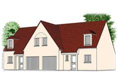 Modèle PC-56  Pavillon investisseur avec garage comprenant cuisine ouverte sur le séjour, hall, salle de bains, WC au rez-de-chaussée. 3 chambres, palier et salle de bains à l'étage.  Surface Habitable : 99,88m² pour un logement