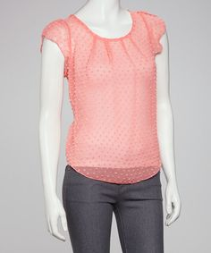 Take a look at this Coral Dot Sheer Top by Jun & Min on #zulily today!  $15.99, regular 31.00