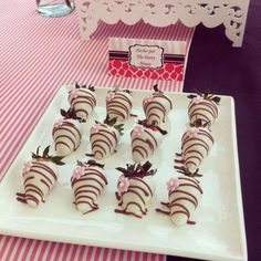 Chocolate dipped strawberries at a Pink Baby Shower! See more party planning ideas at CatchMyParty.com!