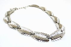 Monet Abstract Silver Tone Link Necklace  by thejewelseeker