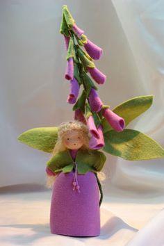Purple Foxglove Flower Child Waldorf von KatjasFlowerfairys