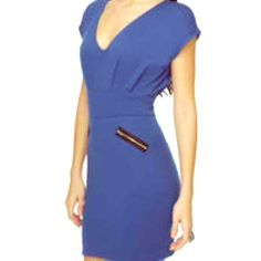 HP Lulus zip code blue dress Best in Dresses and Skirts HP 11/20/15! Stretchy, royal blue jersey knit plunged from a soft v-neckline to a pleated bodice between short dolman sleeves. A wide waistband offers a slimming fit while diagonal silver zippers accent. Lulu's Dresses Mini