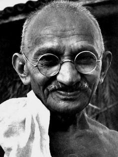 """Gandhi, 1869-1948.  Employing non-violent civil disobedience, nalism in British-ruled India. Gandhi led India to independence and inspired movements for non-violence, civil rights and freedom across the world.        """"Happiness is when what you think, what you say, and what you do are in harmony."""""""
